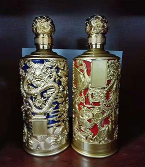 镀金雕龙喷涂酒瓶